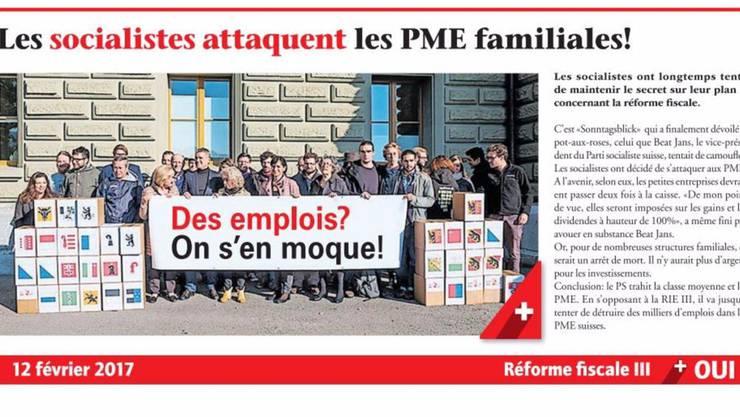 Diese Fotomontage des Schweizerischen Gewerbeverbandes stösst Sozialdemokraten sauer auf. ho
