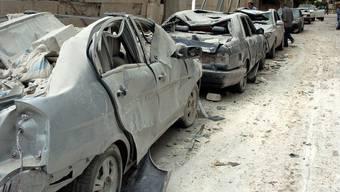 Zerstörung auf einer Strasse in Idlib