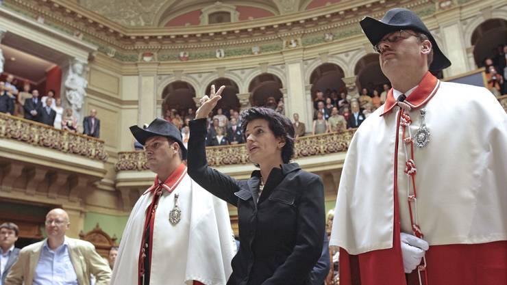 Doris Leuthard, CVP, wurde am 14. Juni 2006 als Bundesrätin vereidigt.