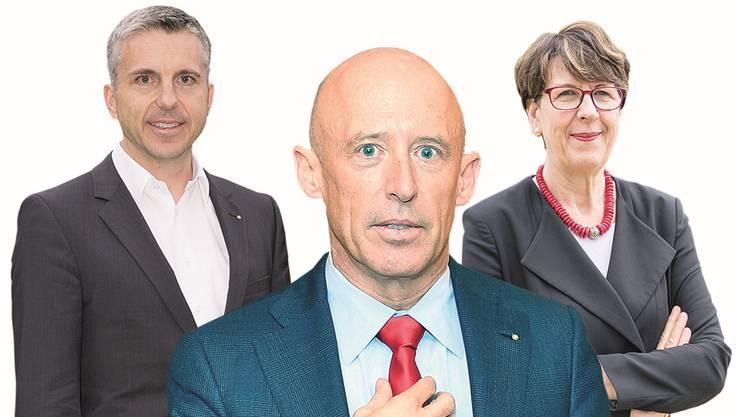 Sind dieses Jahr zurückgetreten: Pascal Koradi, Patrik Gisel und Susanne Ruoff (v.l.).