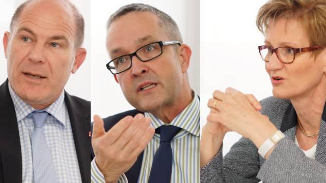 Die bürgerlichen Baselbieter Regierungsräte Lauber, Weber und Pegoraro.