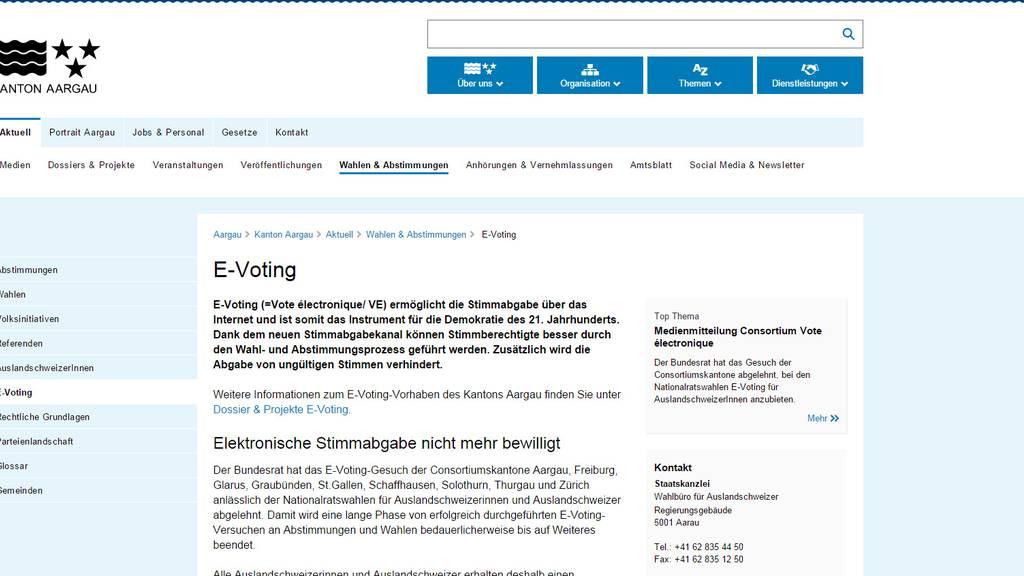 Aargau setzt weiter auf E-Voting