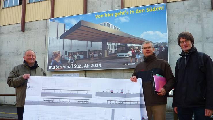 «Ein Projekt, mit dem es spürbar vorwärtsgeht»: Daniel Moser (links), Stefan Zinniker und Manuel Basler. BY