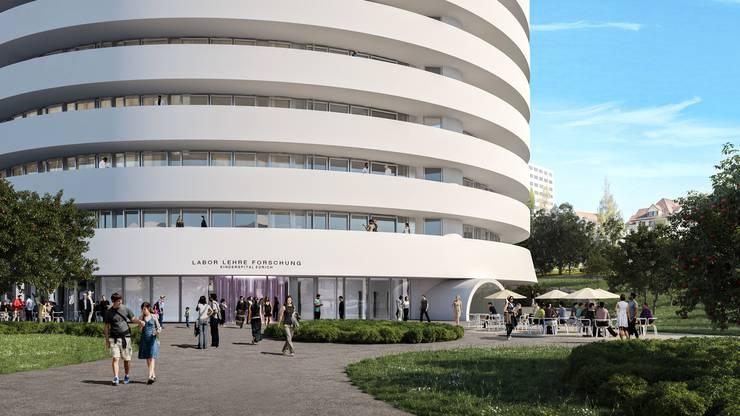 Soll soll das neue Universitäts-Kinderspitals in Zürich Lengg einst aussehen: Der Haupteingang.