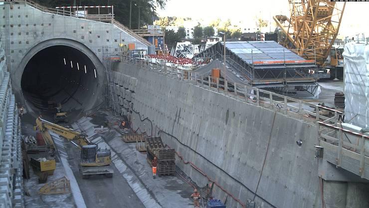Baustelle Eppenbergtunnel: Schnappschuss der Webcam am Dienstag, 30. August 2016.