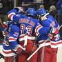 Die Spieler der New York Rangers konnten am Mittwoch innert sechs Sekunden zweimal jubeln