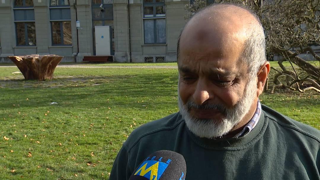 Kämpft mit den Tränen: Malik Allawala, Sprecher des Verbands der Aargauer Muslime, im Interview mit Tele M1