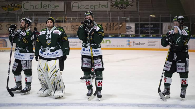 Grosse Enttäuschung beim EHC Olten nach der entscheidenden Niederlage im 5. Spiel gegen den SC Langenthal.