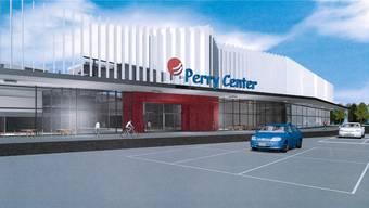 Die Visualisierung zeigt das neue, verschönerte Perry Center; rechts vom neuen Haupteingang (rot) entsteht das Hotel. zvg