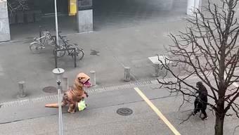 Kleiner Aufsteller während der Selbstisolation: Zwei junge Männer haben sich ins Dino-Kostüm geworfen und sind durch die Strassen von Olten spaziert.