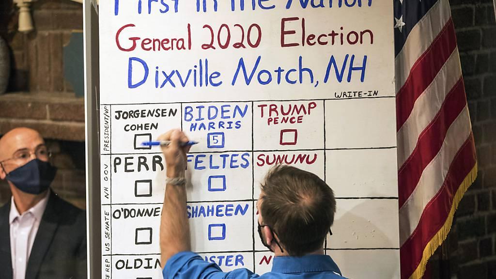 dpatopbilder - US-Präsidentenwahl sind gefallen: Der Demokrat Joe Biden hat die Abstimmung in dem kleinen Örtchen Dixville Notch in New Hampshire mit 5 zu 0 Stimmen  gegen Donald Trump gewonnen. (zu dpa: Erste Ergebnisse bei US-Wahl: Biden gewinnt im Dorf Dixville Notch) Foto: Scott Eisen/AP/dpa