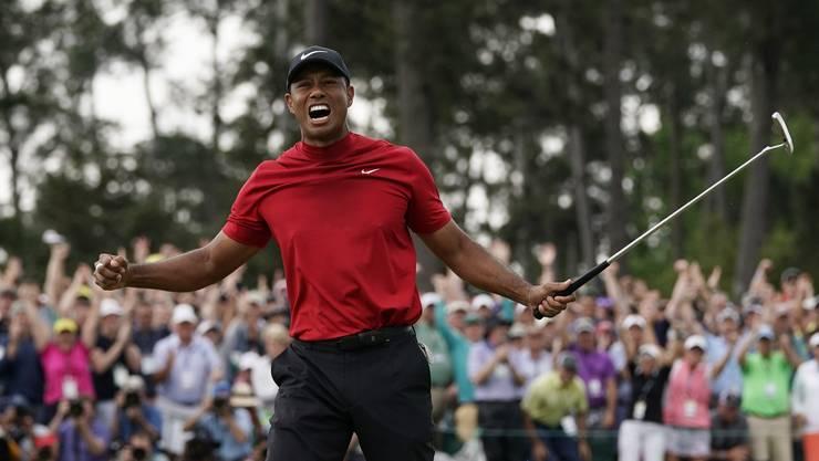 Der Schrei des grossen Siegers: Tiger Woods