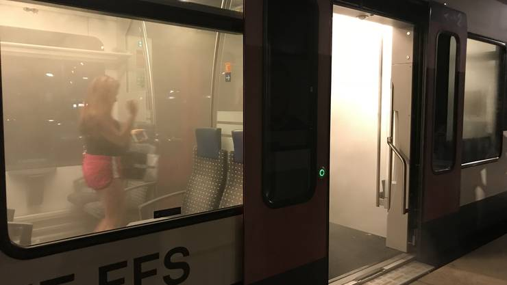 Rauch dringt am Bahnhof Solothurn Allmend aus dem Regionalzug