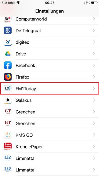 """Suche hier nach """"FM1Today"""""""