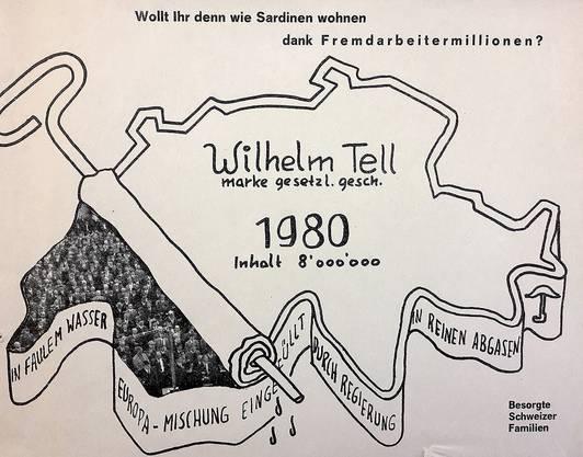 Propaganda für die Schwarzenbach-Initiative 1970.