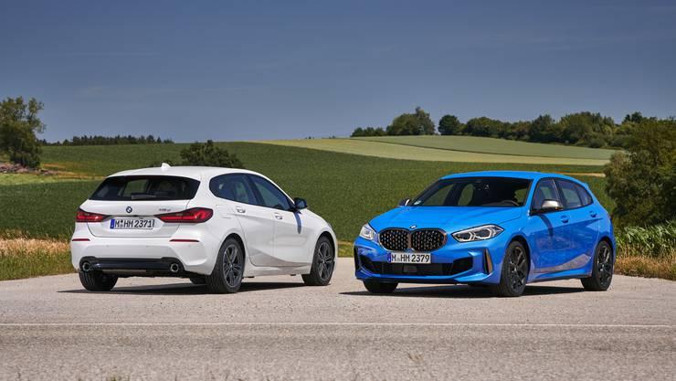 Das Topmodell M135i xDrive (rechts) zeigt auch neben Sportfahrwerk, -Lenkung und -Bremsen auch optisch von seiner sportlichen Seite.