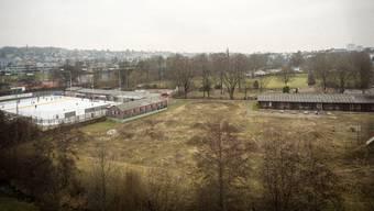 10. Februar 2017: Drohnenaufnahme des heutigen Areals mit Eisbahn, Dirtpark und Asylunterkunft im Vordergrund, Skatepark, Minigolf und Badi dahinter. Chris Iseli