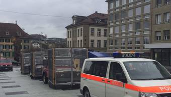 Die Polizei war am Samstag in Bern mit einem Grossaufgebot vor Ort.