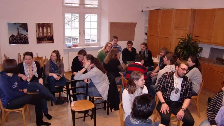 In kleinen Gruppen wurde angeregt über die Ideen für den Grossanlass Paradisos vom 4./5. Juni in Zuchwil diskutiert.  zvg In kleinen Gruppen wurde angeregt über die Ideen für den Grossanlass Paradisos vom 4./5. Juni in Zuchwil diskutiert.  zvg