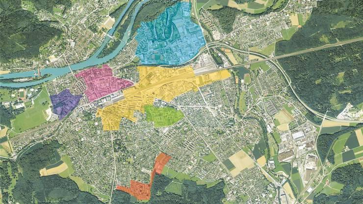 Grün: Wärmeversorgung Areal KSA (bestehend) Gelb: Wärme-/Kälteverbund Torfeld Nord/Bahnhof Süd IBAarau (ab 2015) Hellblau: ARA-Abwärmeverbund Telli-Neumatt (ab 2015) Rot: Energieverbund Kasinoareal (seit 2014) Violett: Grundwasser-Wärmeverbund Schachen (ab 2015) Orange: Abwärmenutzung Keba-Energieholzverbund Goldern (ab 2018)