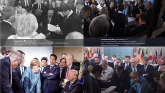 Schlüsselmoment am G7-Gipfel in Kanada: Die vier Bilder erzählen aber je nach Perspektive eine andere Geschichte.