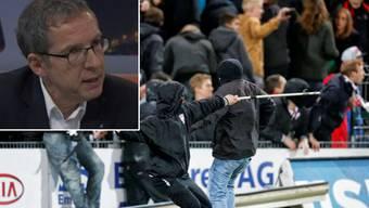Urs Hofmann ist klar für härtere Massnahmen gegen Hooligans. Im Bild die Ausschreitungen nach dem Meisterschaftsspiel zwischen Aarau und Basel im Brügglifeld im Mai 2014.