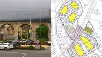 Links: Das Areal rund um den Bahnviadukt ist jetzt baureif. Rechts: Der Gestaltungsplan zeigt die unkonventionellen Grundrisse.