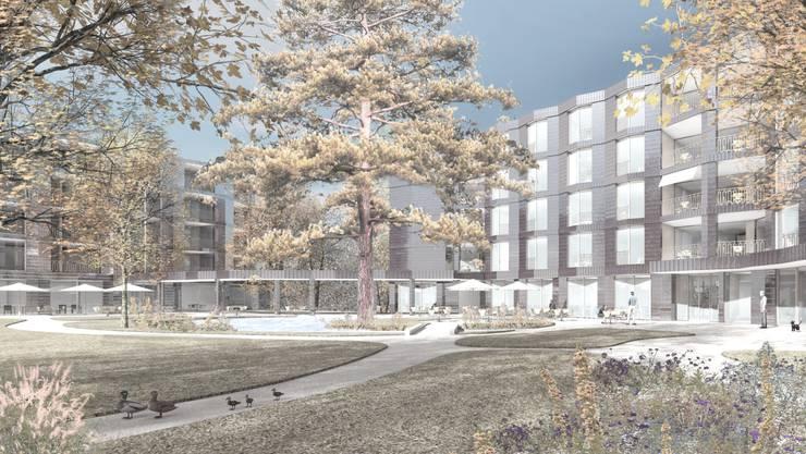 Die Visualisierung des Siegerprojekts «Auberge»: Das Gebäude rechts ist das neue Pflegeheim, links kommt später das Wohnheim