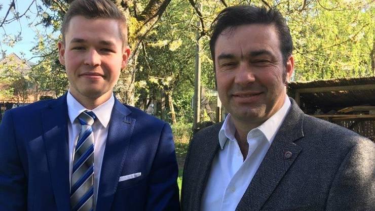 Die beiden Kandidaten Pascal Käser und Werner Ruchti (bisher) wollen für die SVP in den Gemeinderat einziehen.