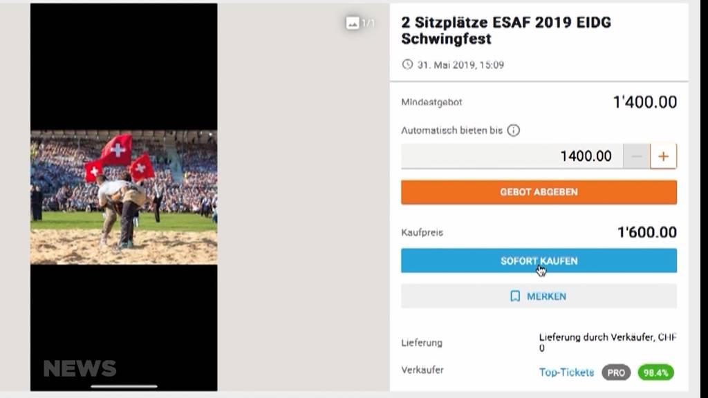 ESAF-Tickets auf Ricardo kosten über 1'000 Franken