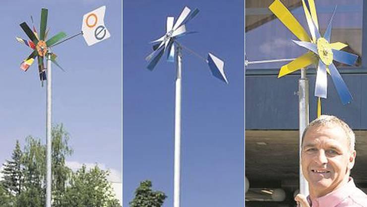 Gemeindepräsident von Oberengstrigen, René Beck, hat seinem gesponserten Windrad die Farben von Oberengsrigen und der GC-Kurve verpasst