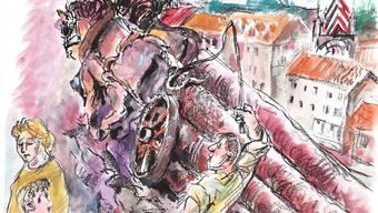 Der Fuhrmann knallte den Pferden fluchend und schreiend seine Peitsche um die Beine.