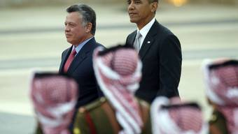 Der jordanische König Abdullah II. (l.) und Barack Obama beim offiziellen Empfang in Amman