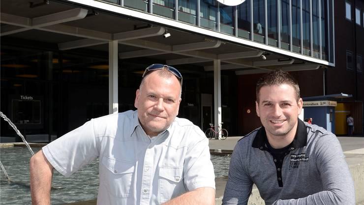 Das Muba-Team Chris Eichenberger (l.) und Simon Dürrenberger freut sich auf die Muba in zehn Tagen. Kenneth Nars
