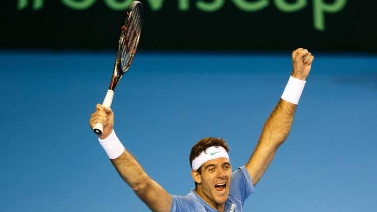 Juan Martin del Potro jubelt nach über 5 Stunden über den Sieg gegen Andy Murray