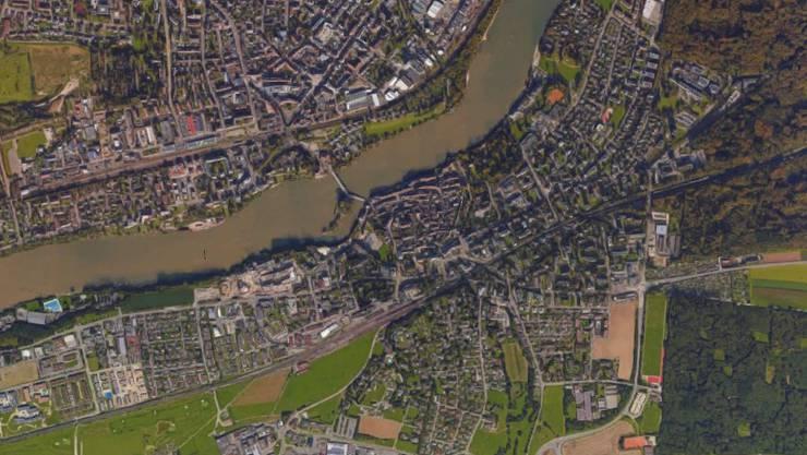 Die beiden Rheinfelden von oben gesehen.