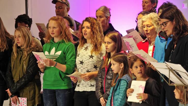 """Ein Ad-doc-Chor sang das """"Neue Aargauerlied"""" bei der Vernissage zur Ausstellung mit Toninstallation im Stadtmuseum Aarau."""