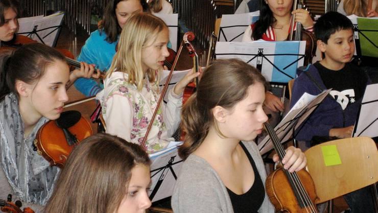 Streicherinnen und Streicher der Musikschule Aarau spielen gemeinsam im Orchester.