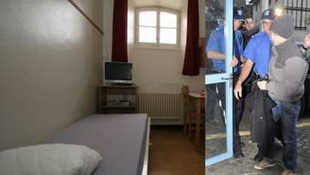 Tobi G., rechts als er zum Gericht geführt wurde, sitzt in der Justizvollzugsanstalt Lenzburg.