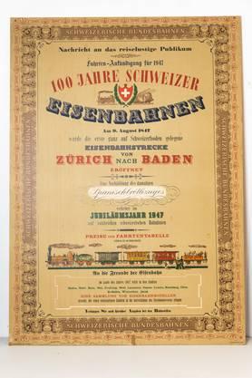 1947: 100 Jahre Spanischbrötli-bahn. «Tragen Schleppen Fahren» – so lautete das Umzugsmotto der Badenfahrt 1947.