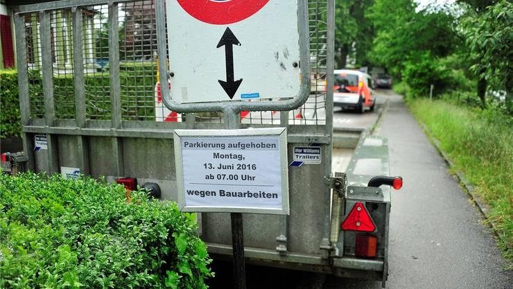 Die Parkplätze an der Aarestrassewerden aufgehoben. Ueli Wild