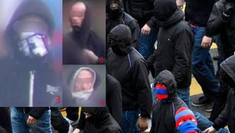 Diese drei Hooligans werden noch von der Staatsanwaltschaft Basel-Stadt gesucht.