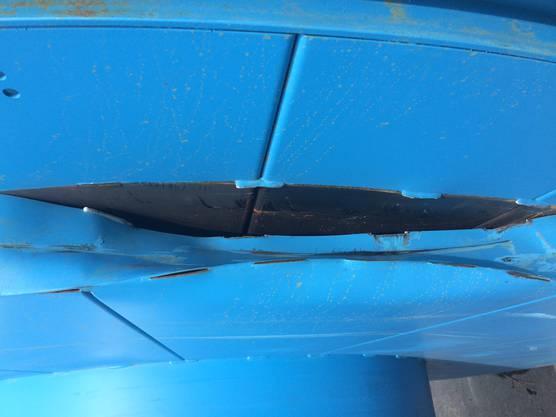 Eine beschädigte Kabelrolle.