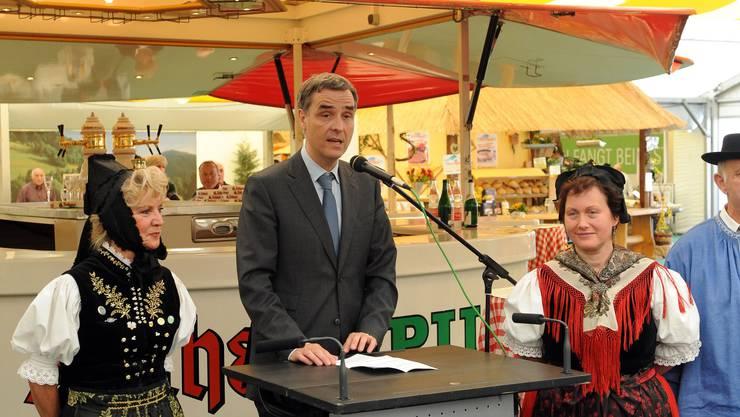 Eröffnung Regio-Messe 2009: Guy Morin, Regierungspräsident Stadt Basel, mit seinem Begrüssungswort
