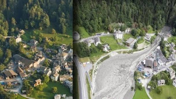 Bondo vor und nach dem Bergsturz