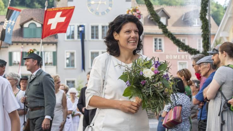 Rutenzug und Morgenfeier am Jugendfest Brugg, 4. Juli 2019. Frau Stadtammann Barbara Horlacher.