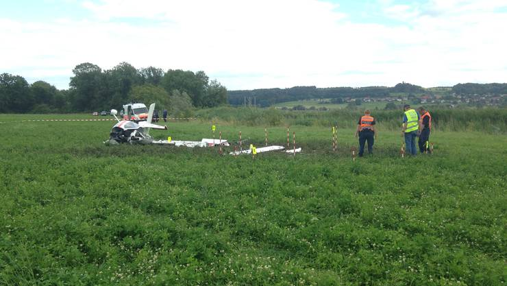 Der Unfallort: südlich der Piste beim Flugplatz Grenchen