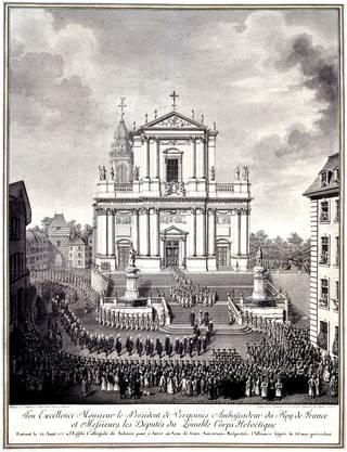 """Die Erneuerung des Soldbündnisses mit Frankreich 1777 – hier nach einem Stich von Midart – war ein grosses Spektakel und sorgte für viele Schaulustige auch an den """"Krone""""-Fenstern. (zvg)"""