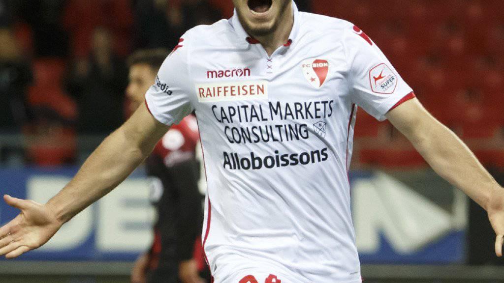 Der Torschütze Bastien Toma schiesst den FC Sion ins Glück.