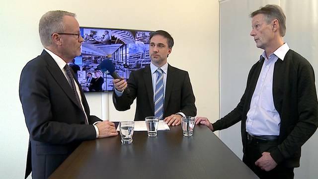 Hans Egloff (Pro, links) und Christian Meier (Kontra) im Streitgespräch zur Limmattalbahn – Moderator: Jürg Krebs, Chefredaktor der Limmattaler Zeitung (Mitte).